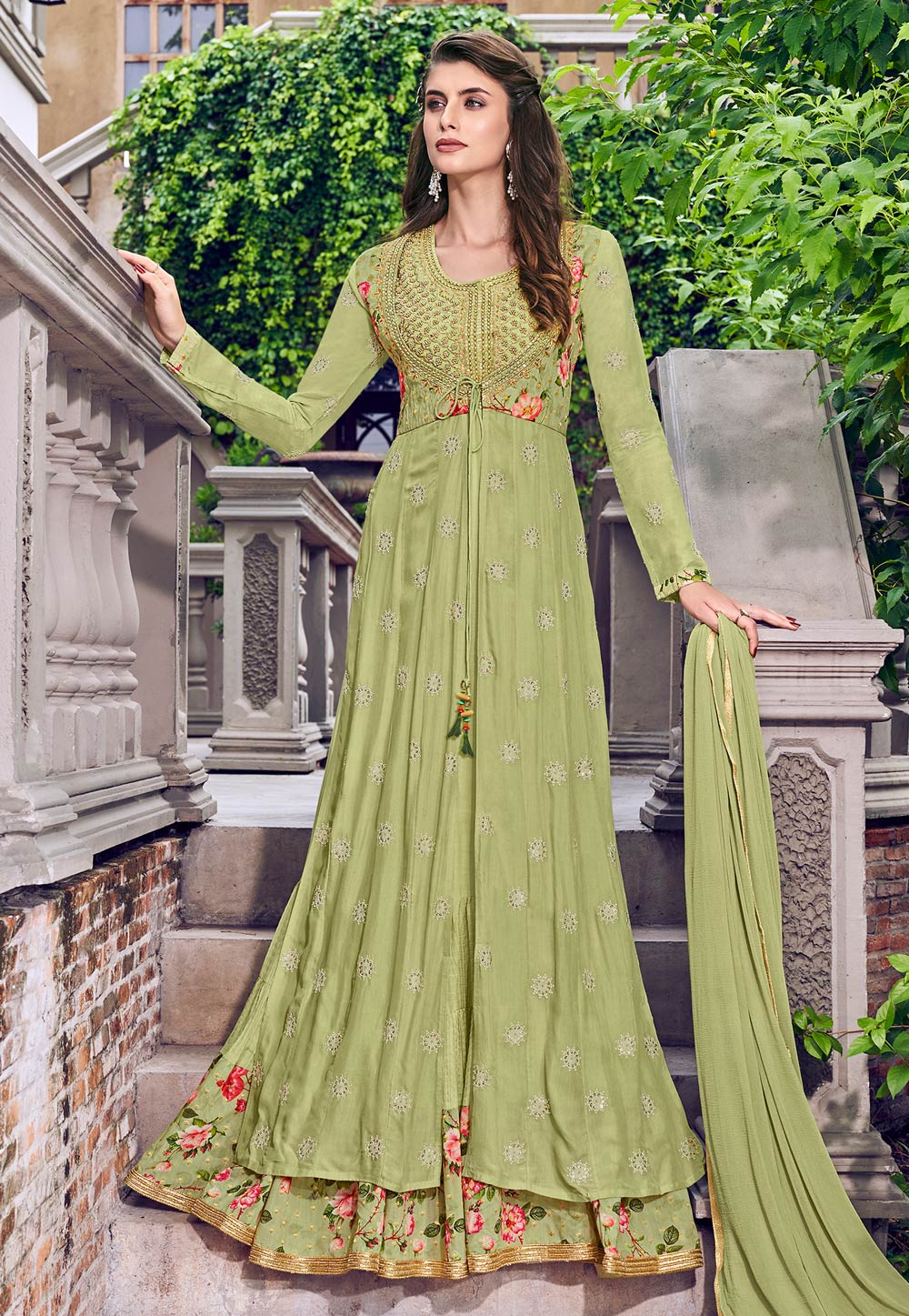 Light Green Jacquard Jacket Style Anarkali Suit 197413