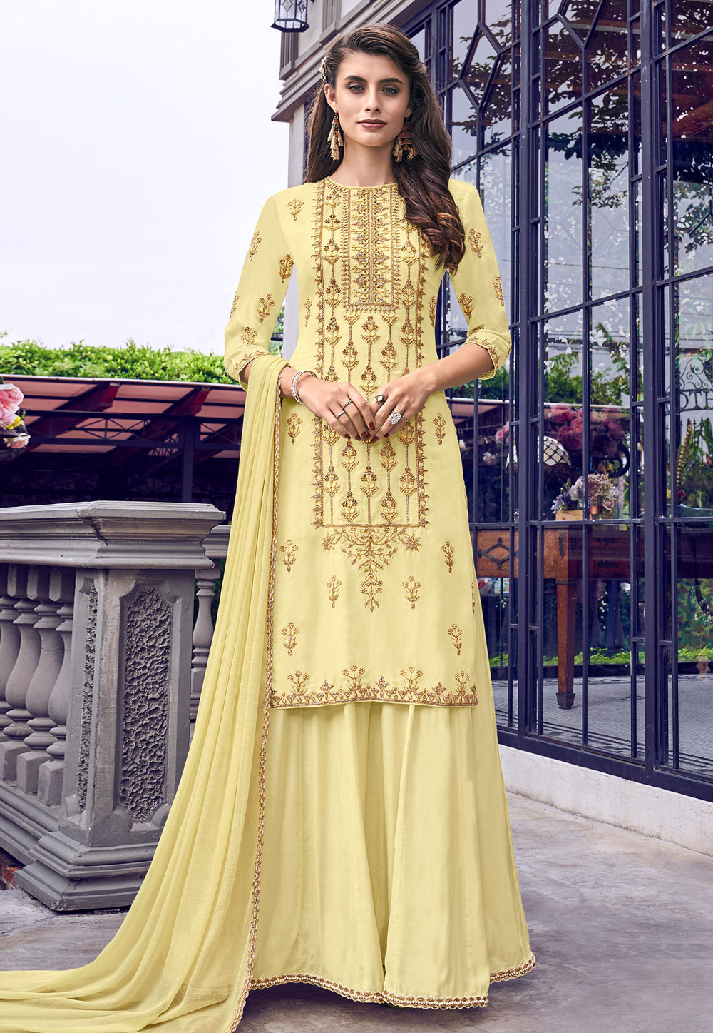 Yellow Muslin Anarkali Suit 197415