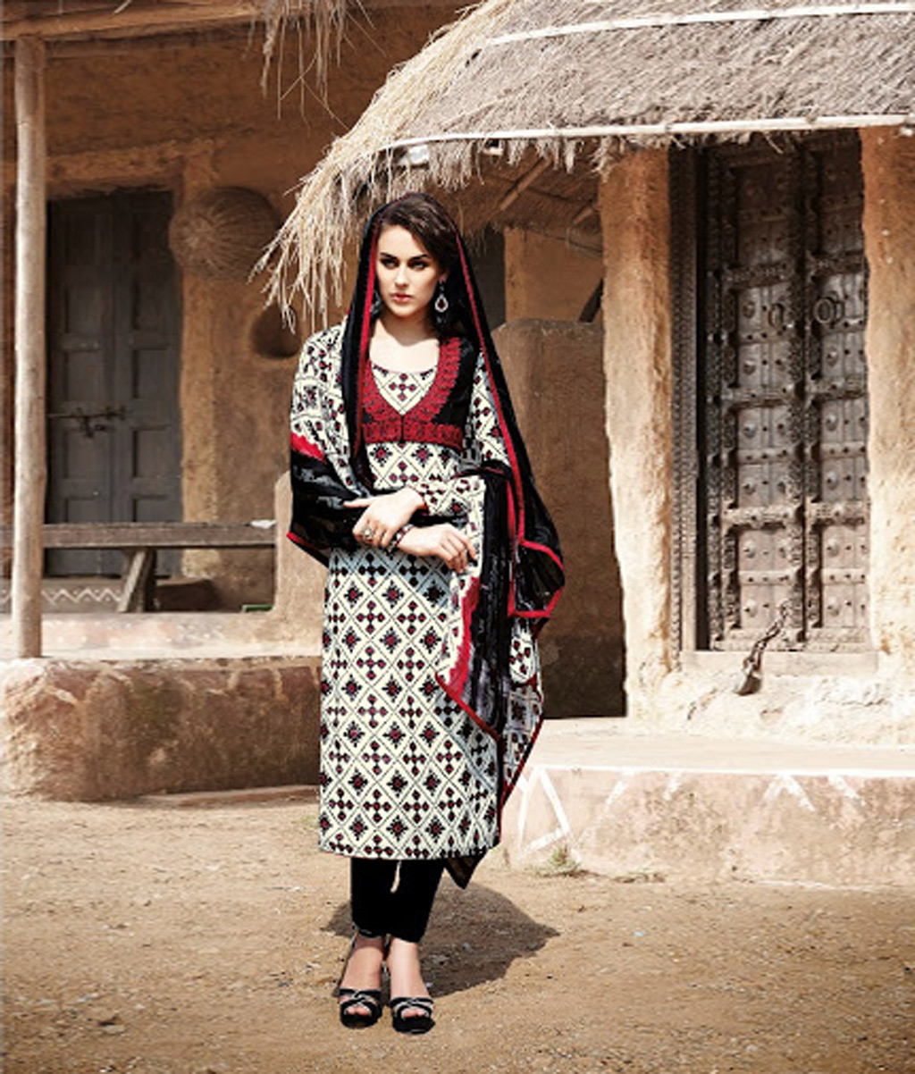 Black Bhagalpuri Churidar Suit 67269