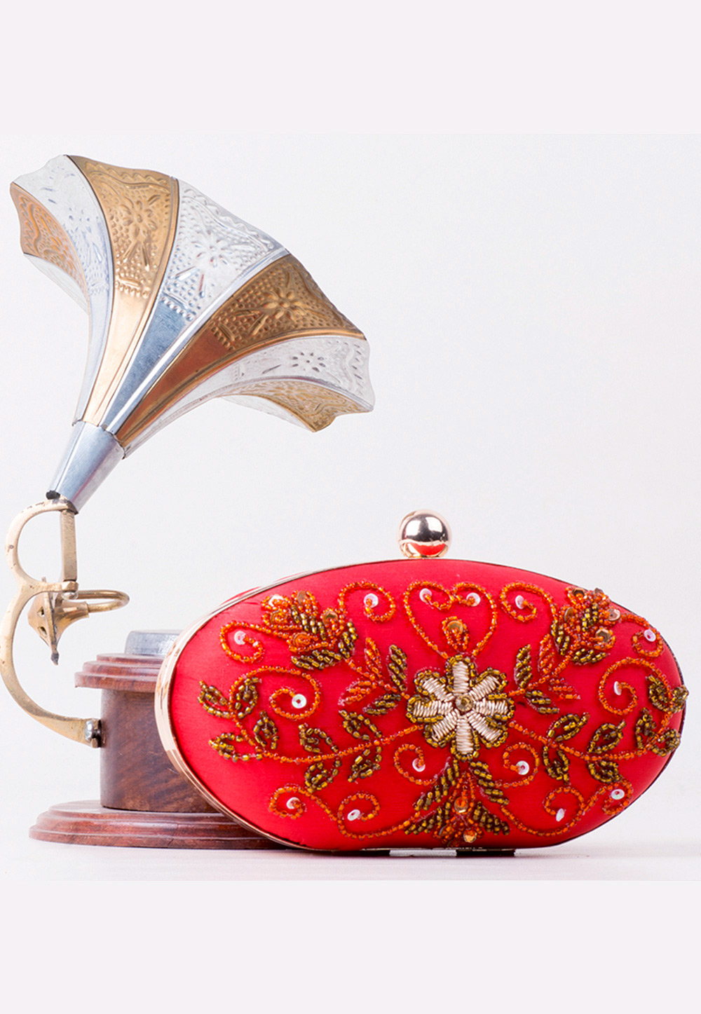 Red Synthetic Hand Work Clutch 172752
