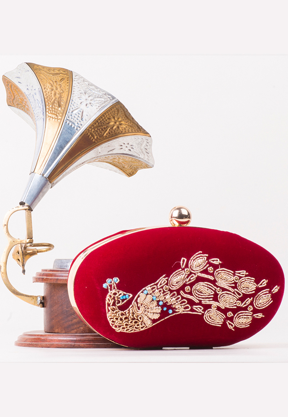 Maroon Synthetic Hand Work Clutch 172754