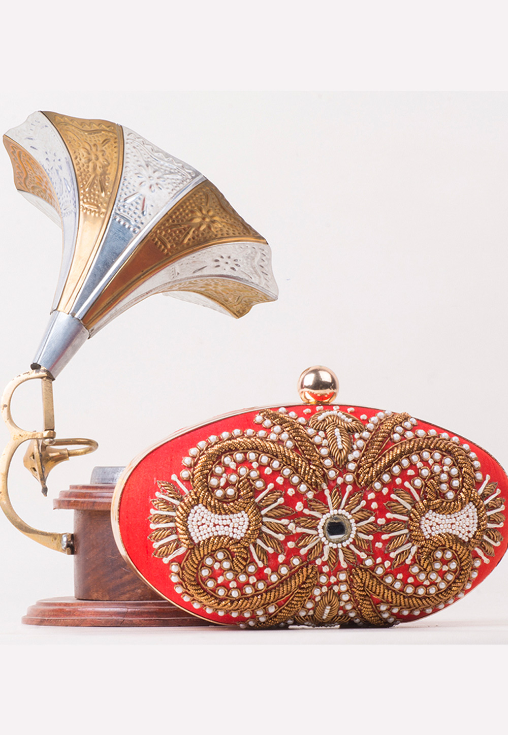 Red Synthetic Hand Work Clutch 172756