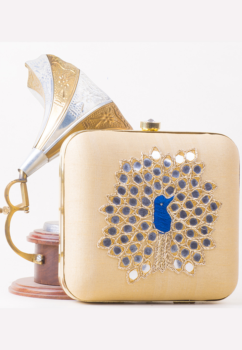 Beige Synthetic Embroidered Clutch 172757