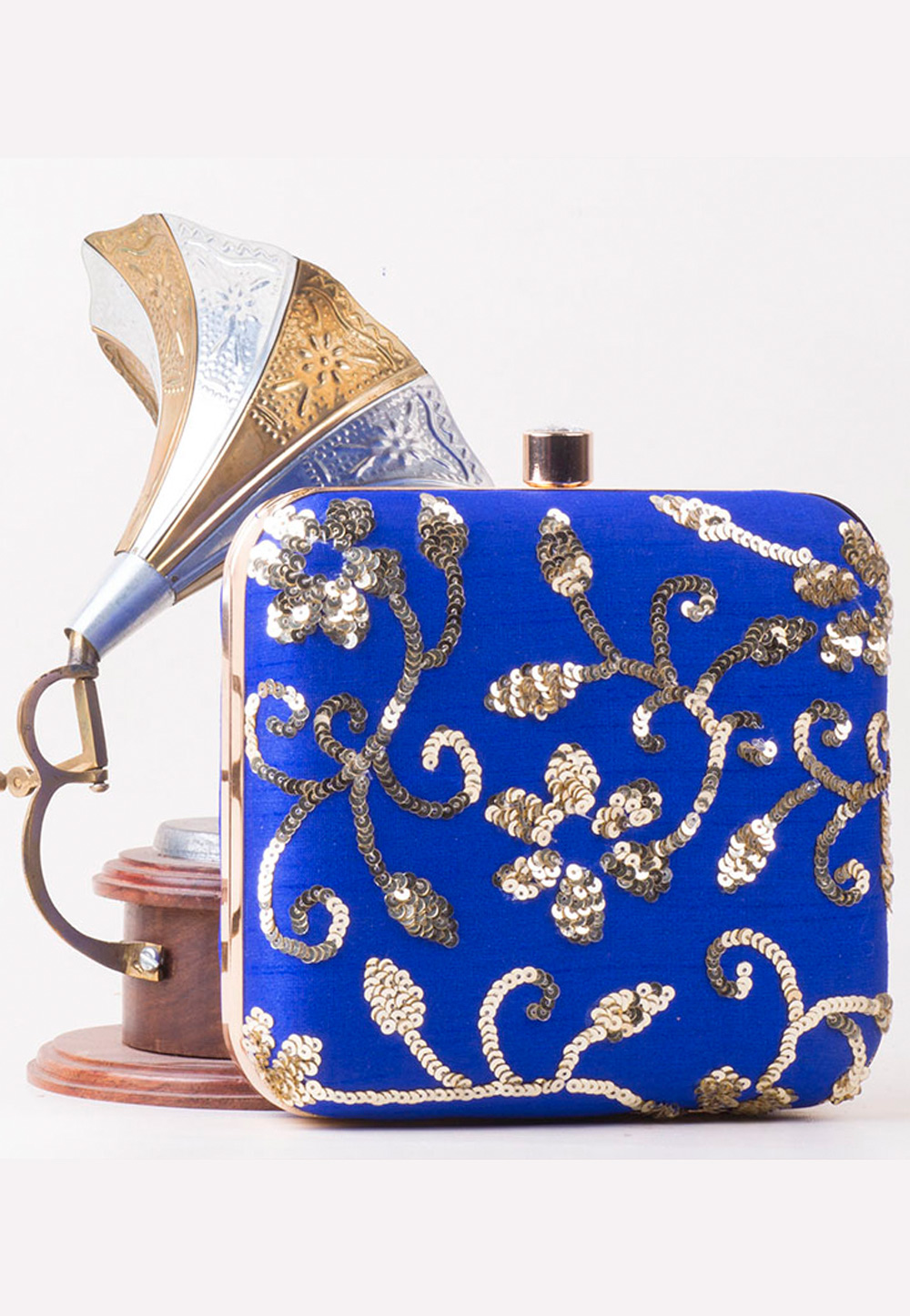 Blue Synthetic Embroidered Clutch 172759