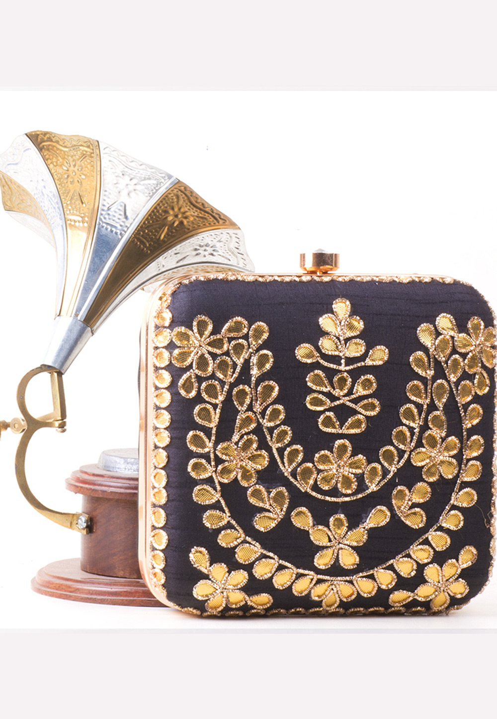 Navy Blue Synthetic Embroidered Clutch 172761
