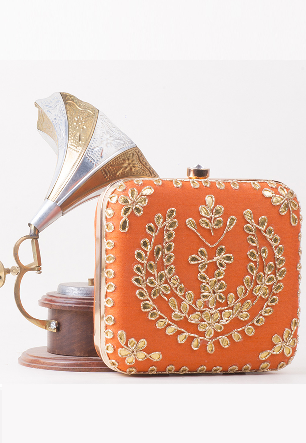 Orange Synthetic Embroidered Clutch 172763