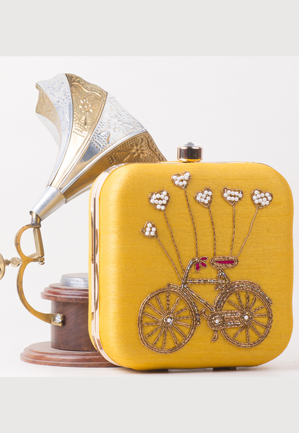 Yellow Synthetic Hand Work Clutch 172765