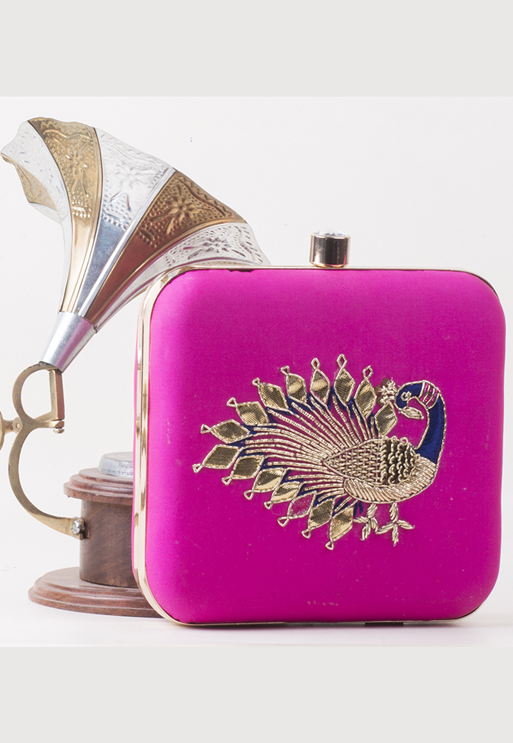 Magenta Synthetic Embroidered Clutch 172766