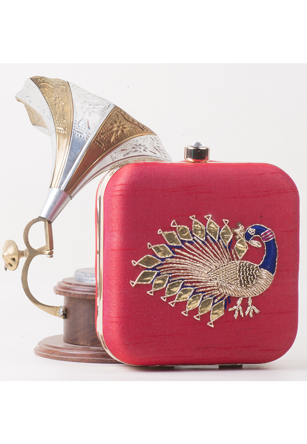 Pink Synthetic Embroidered Clutch 172768