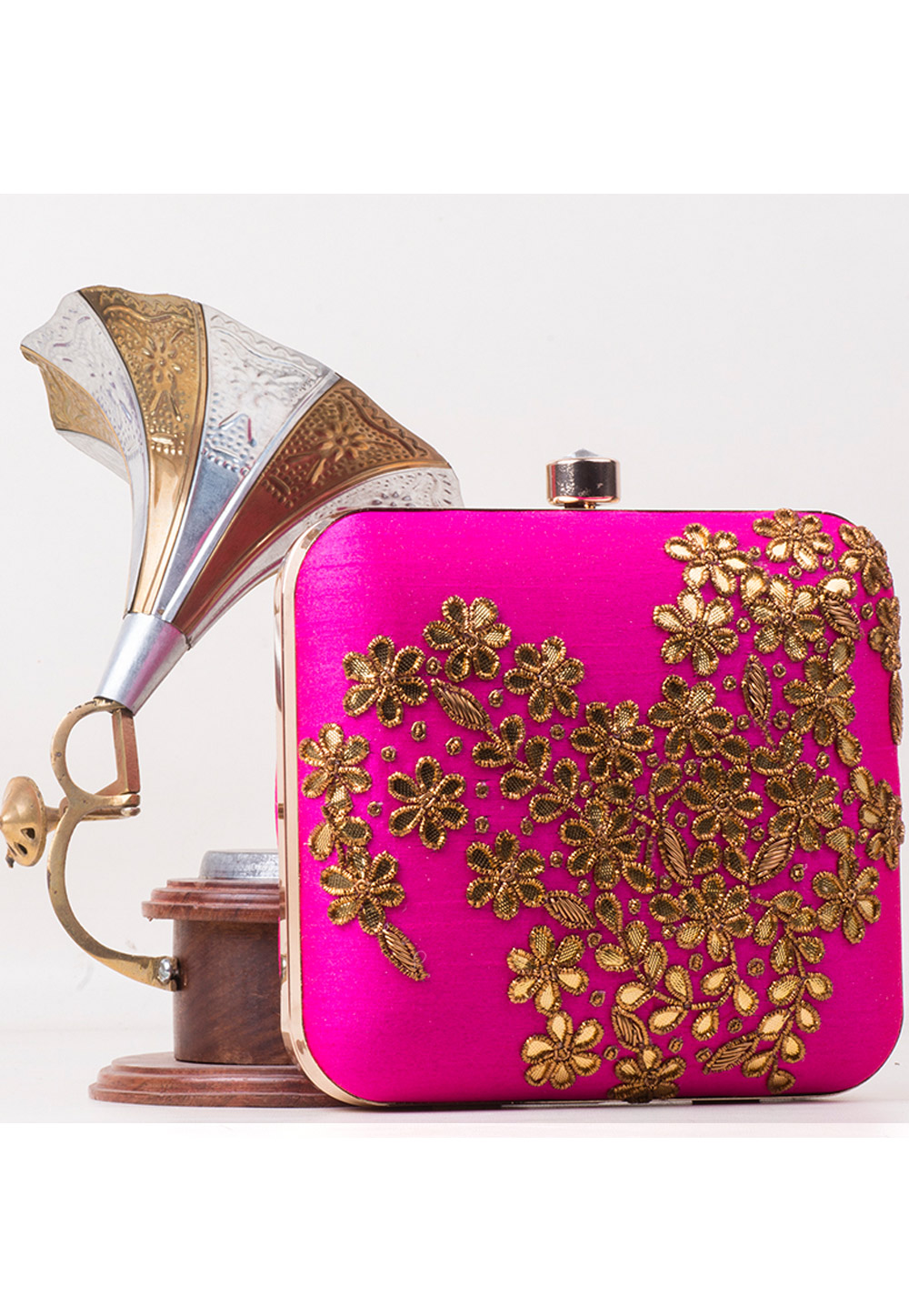Magenta Synthetic Embroidered Clutch 172777