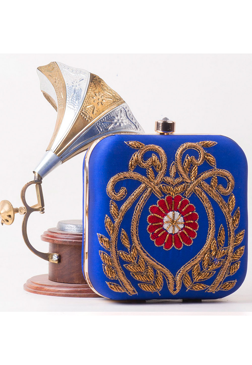 Blue Synthetic Hand Work Clutch 172778