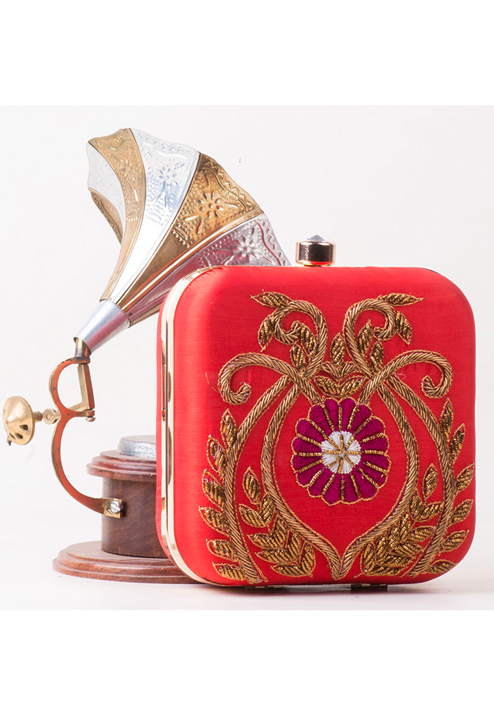 Red Synthetic Hand Work Clutch 172779
