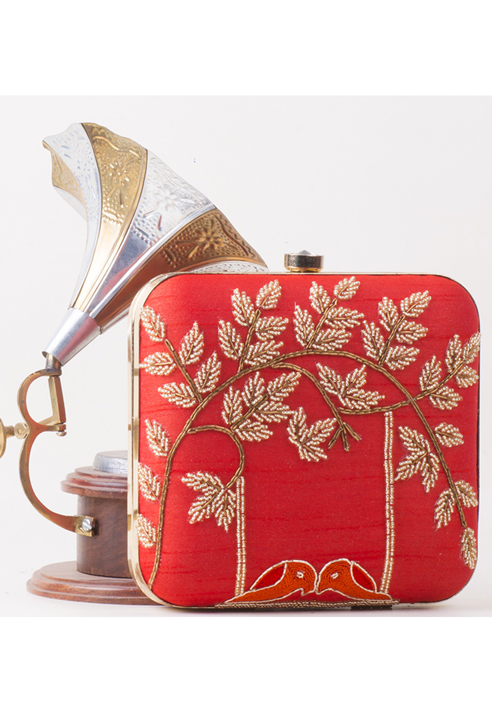 Red Synthetic Hand Work Clutch 172781