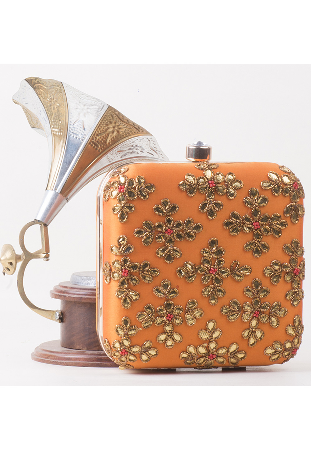 Orange Synthetic Embroidered Clutch 172782