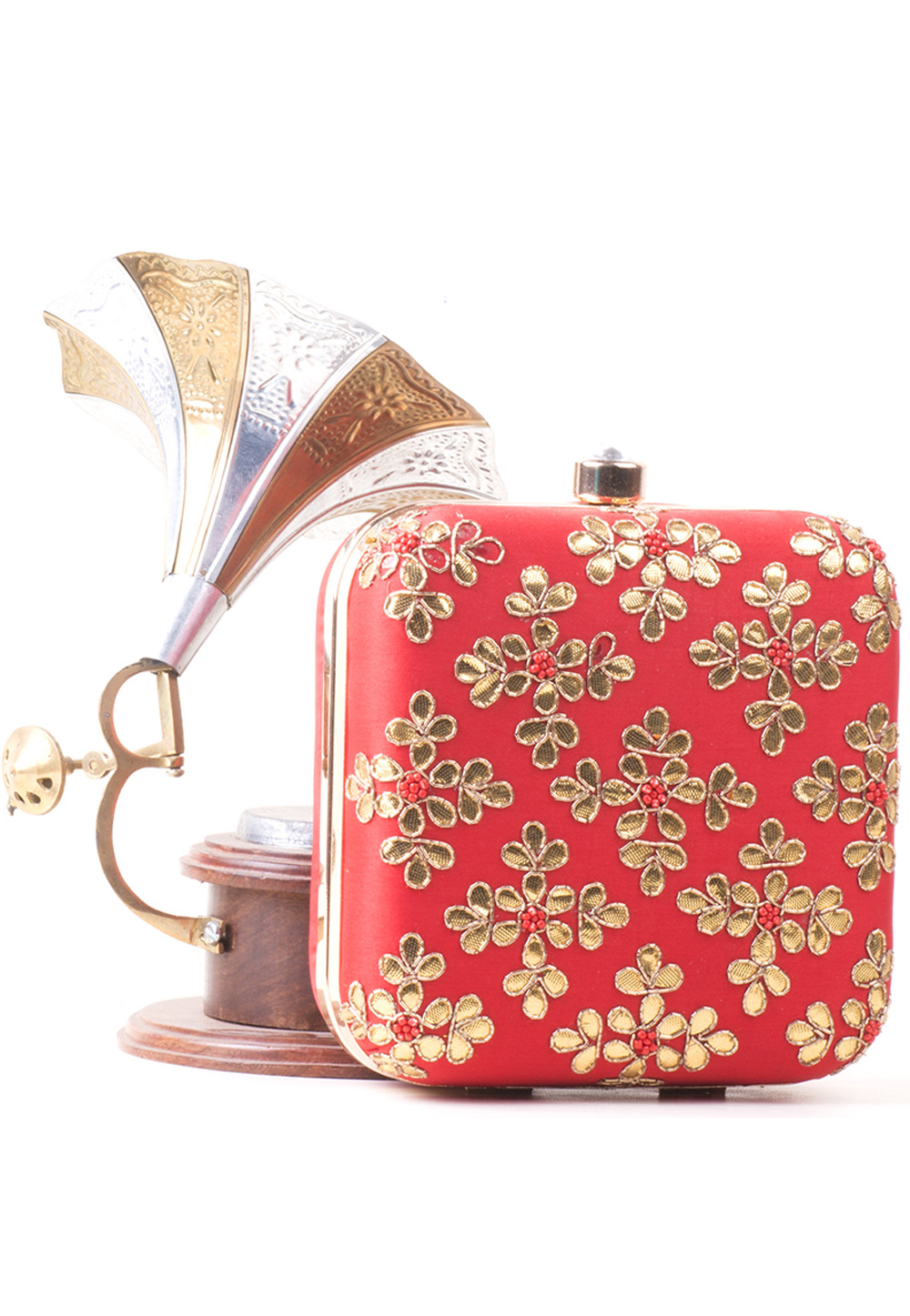 Red Synthetic Embroidered Clutch 172783