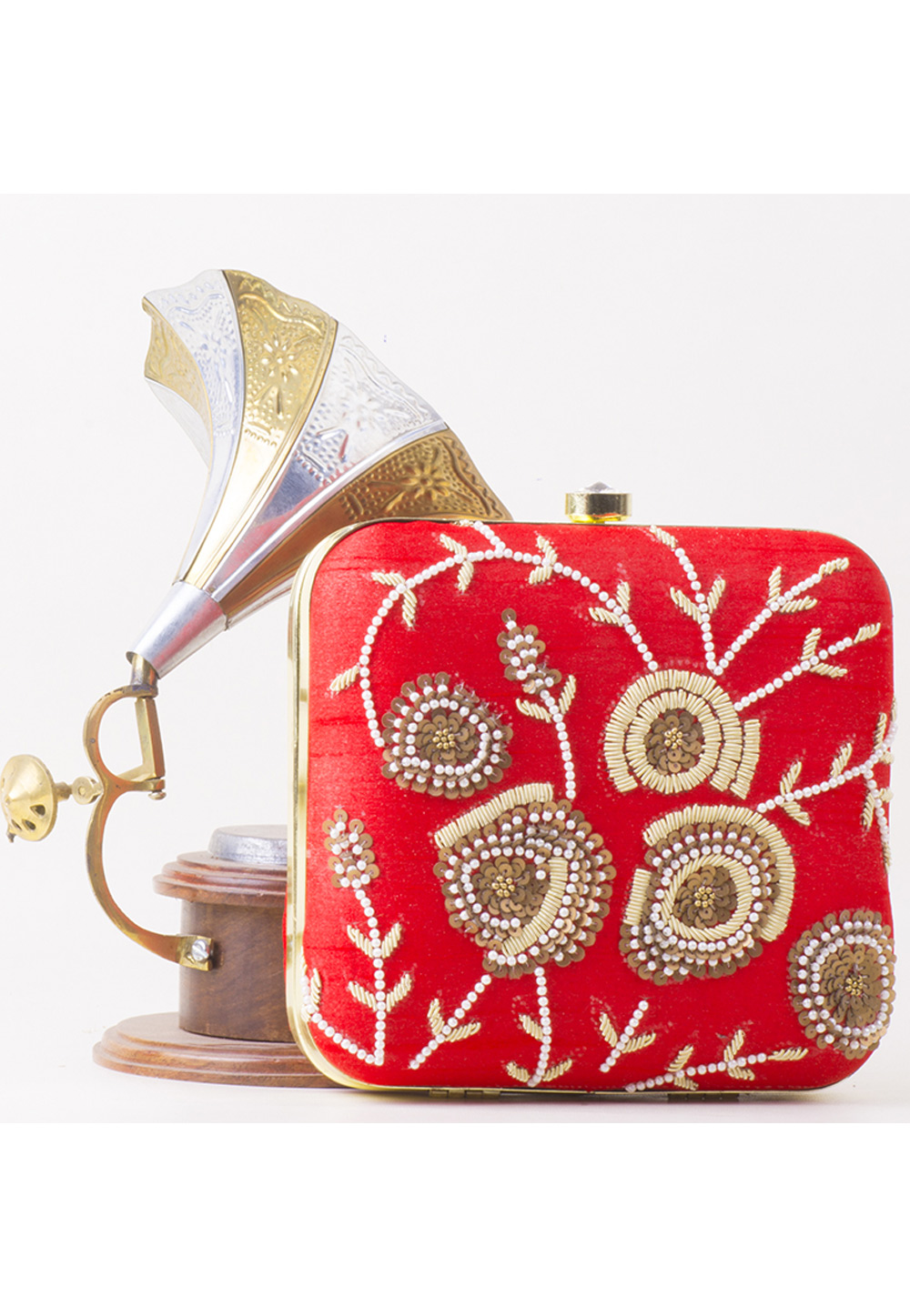 Red Synthetic Hand Work Clutch 172784