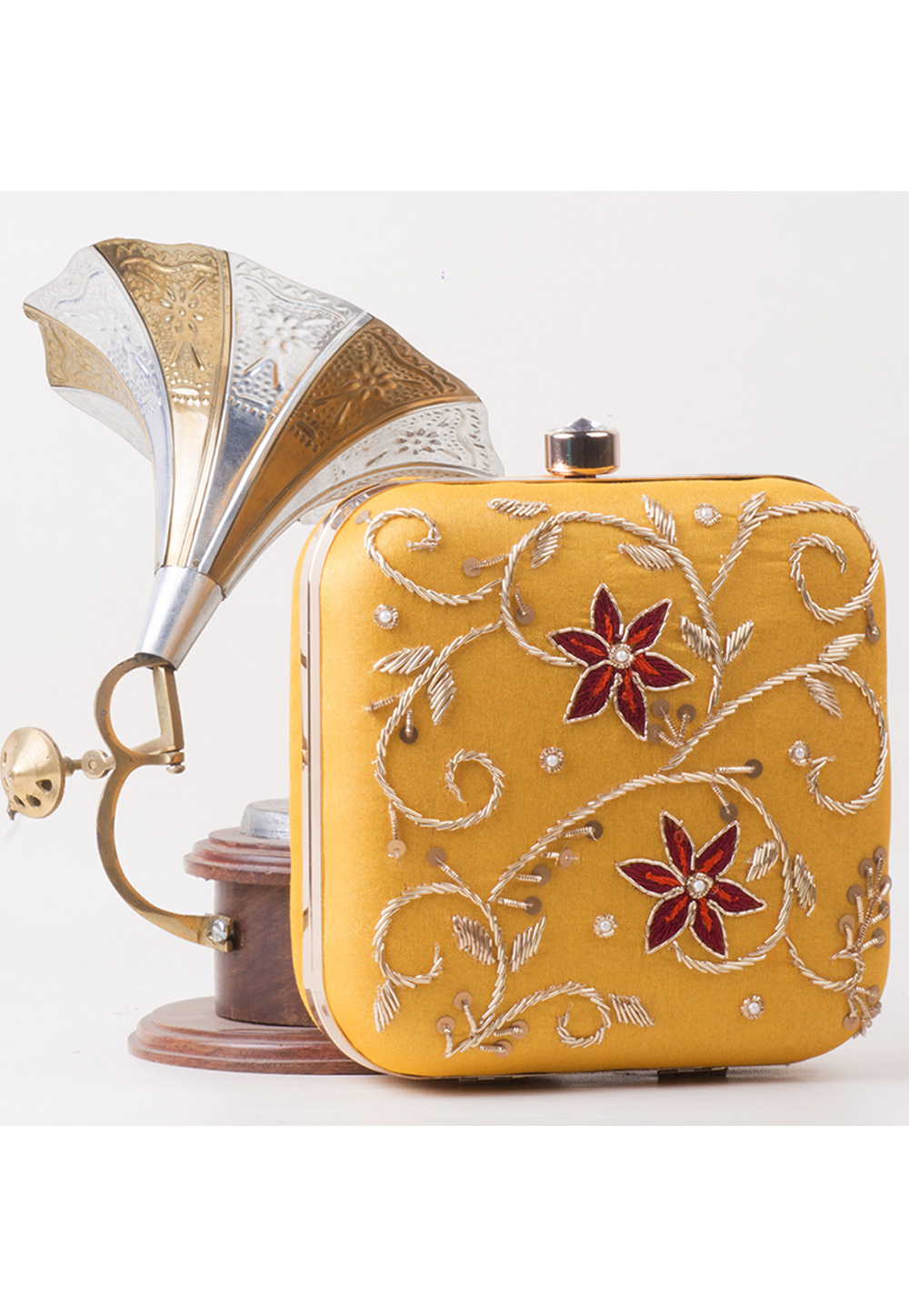 Yellow Synthetic Hand Work Clutch 172785