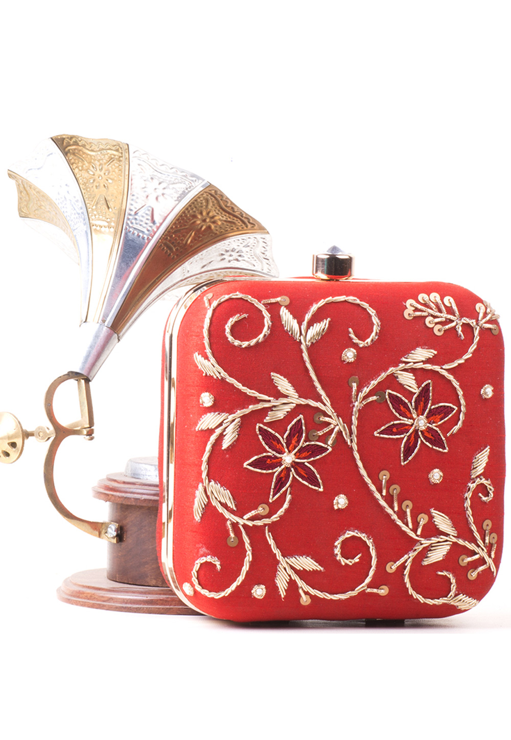 Red Synthetic Hand Work Clutch 172786