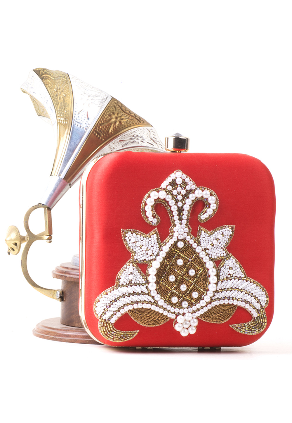Red Synthetic Hand Work Clutch 172788
