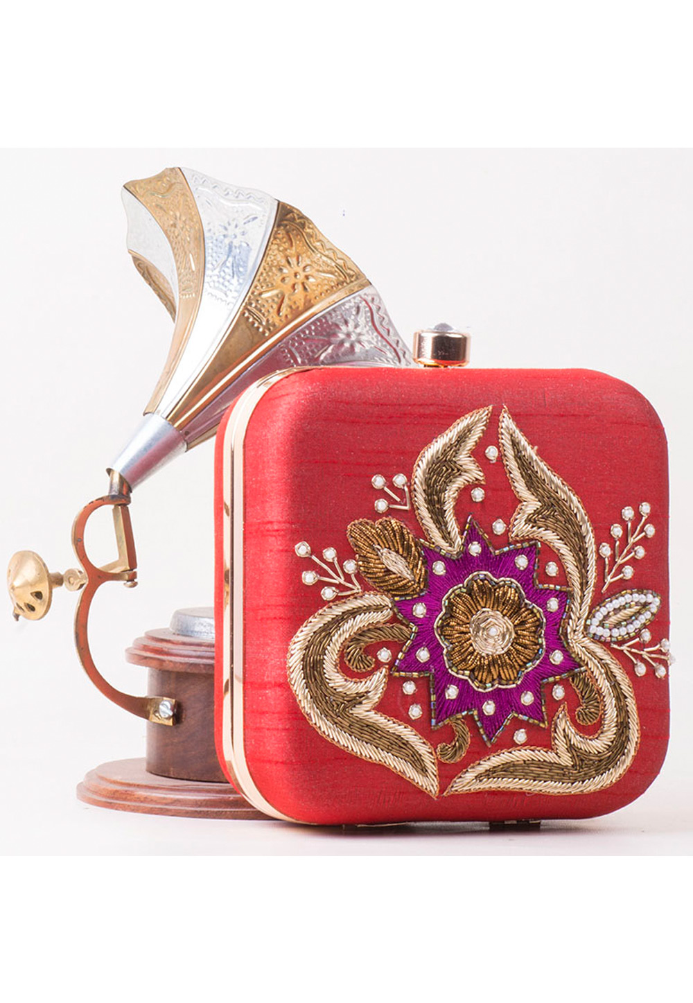 Red Synthetic Hand Work Clutch 172790