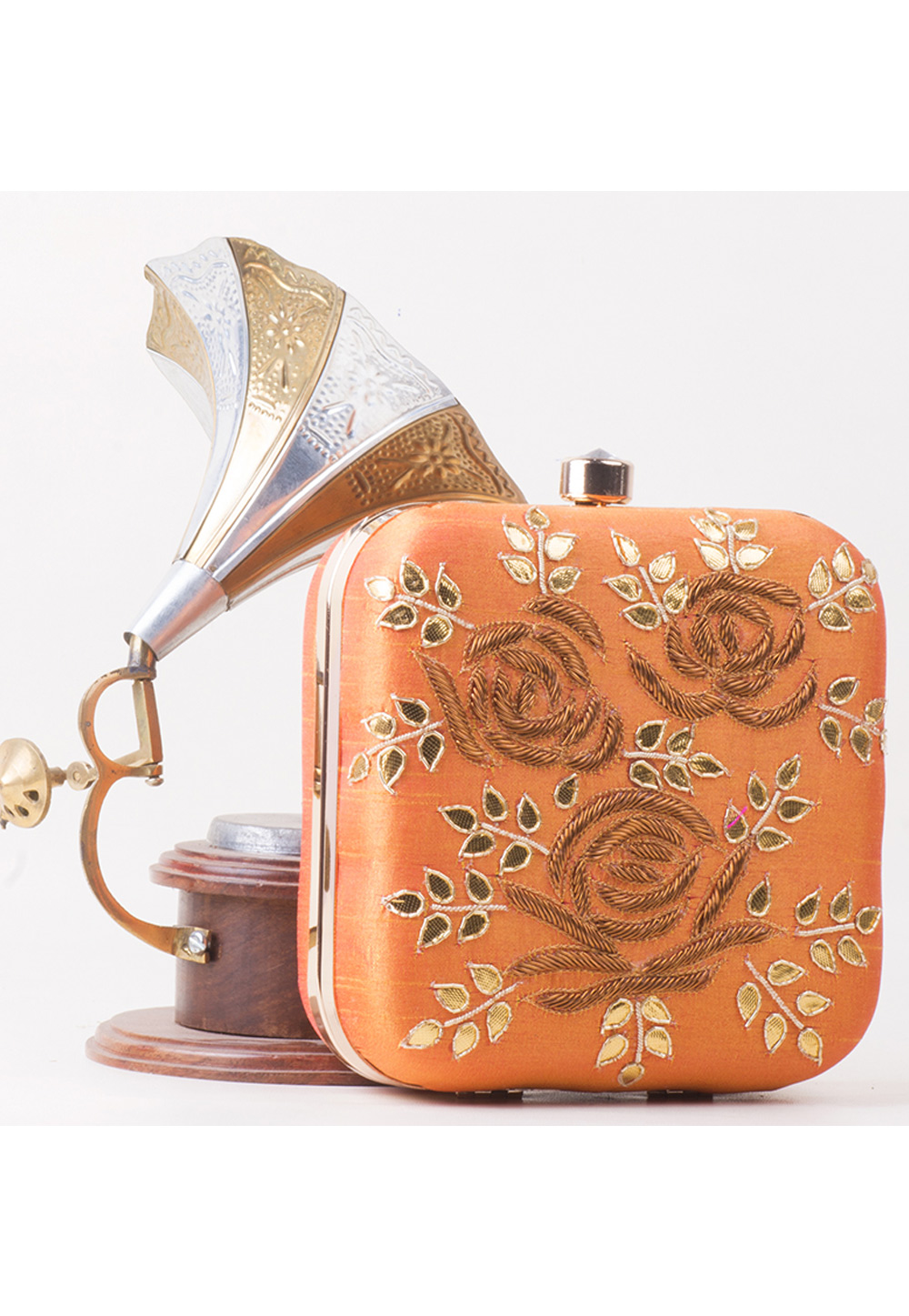 Peach Synthetic Hand Work Clutch 172791