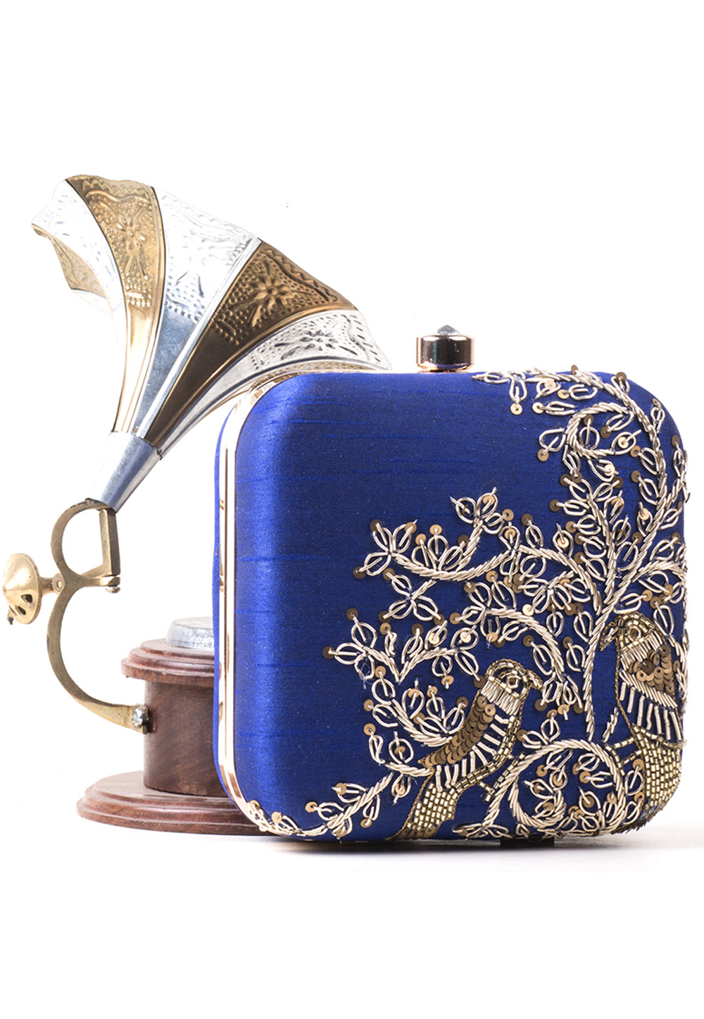 Navy Blue Synthetic Embroidered Clutch 172794