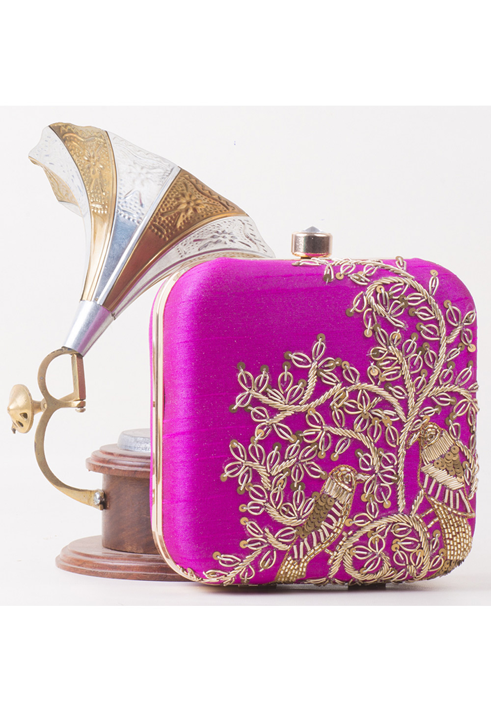 Magenta Synthetic Embroidered Clutch 172795