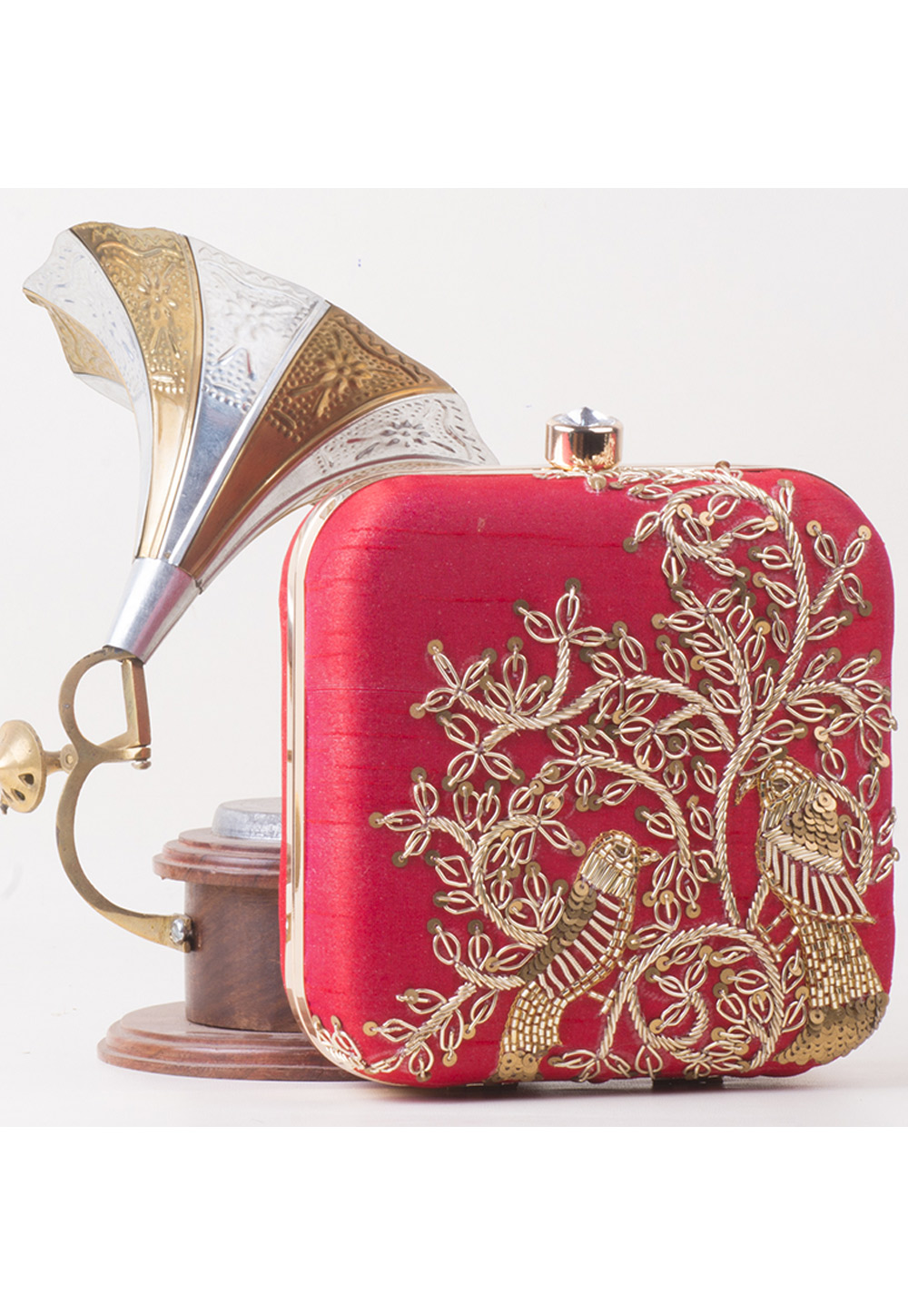 Red Synthetic Embroidered Clutch 172796