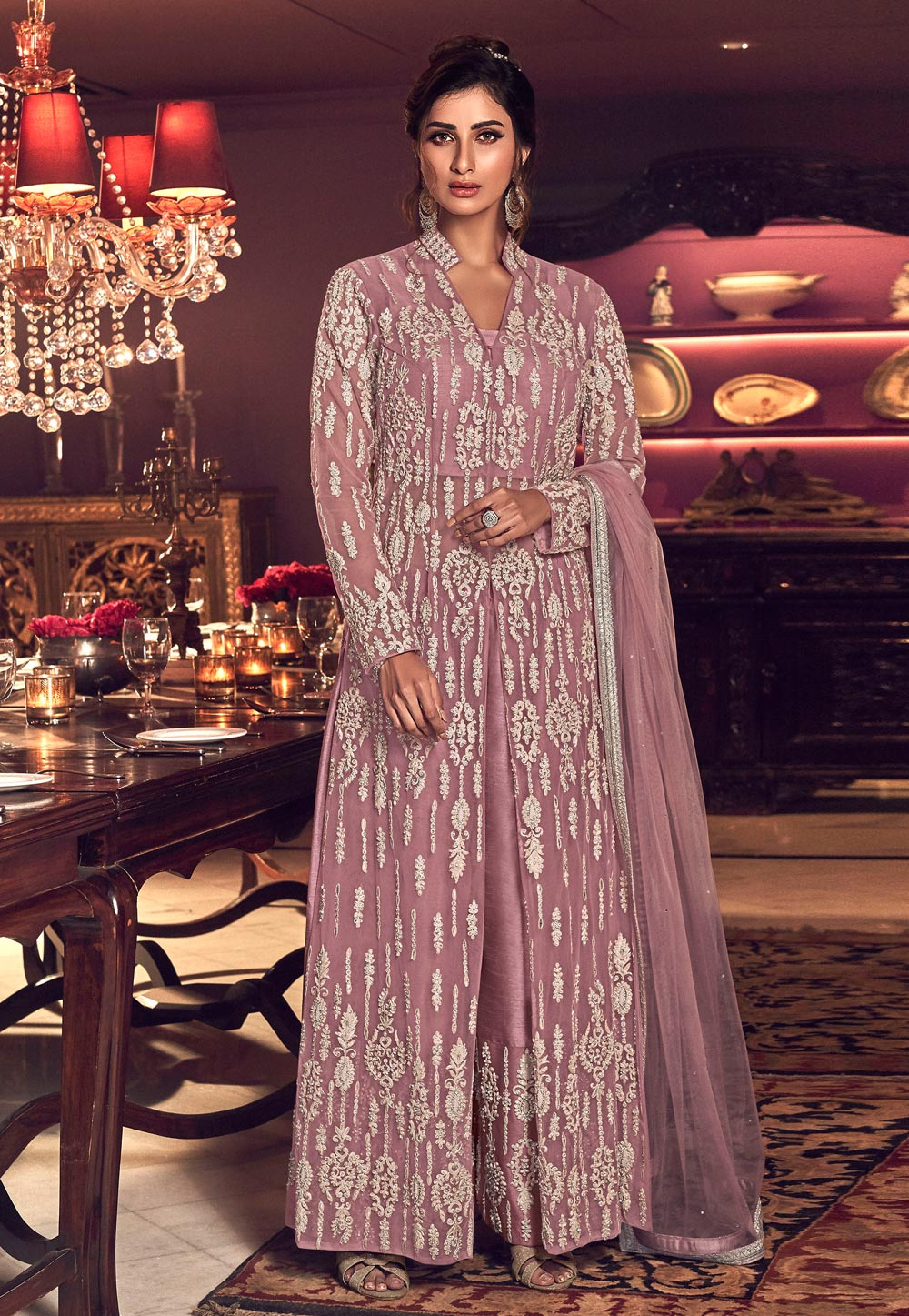 Light Purple Net Embroidered Palazzo Suit 207136