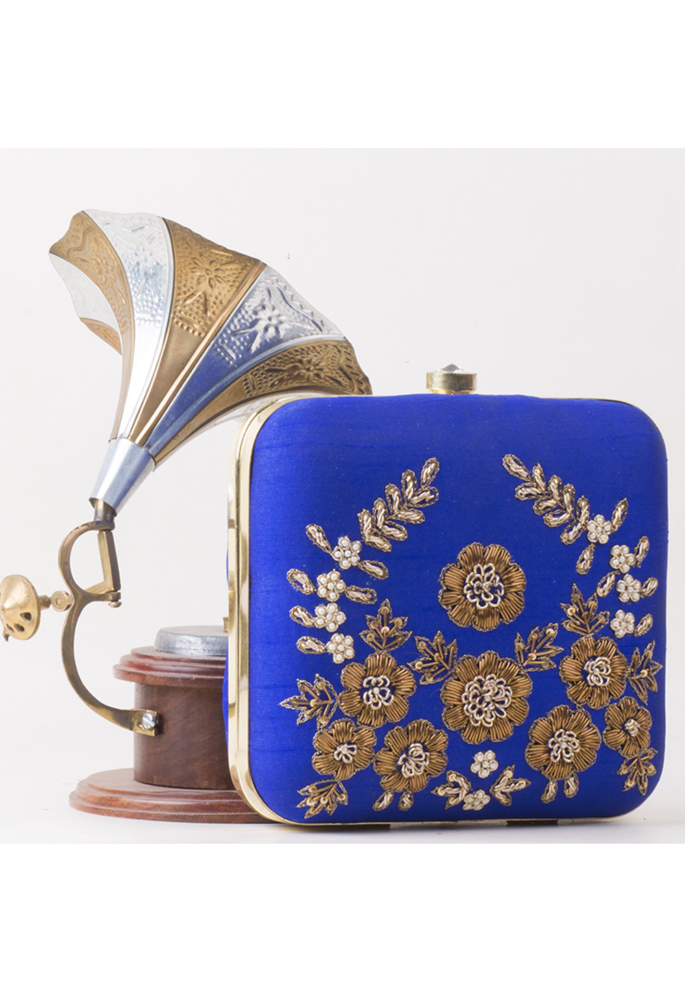 Blue Synthetic Embroidered Clutch 172797