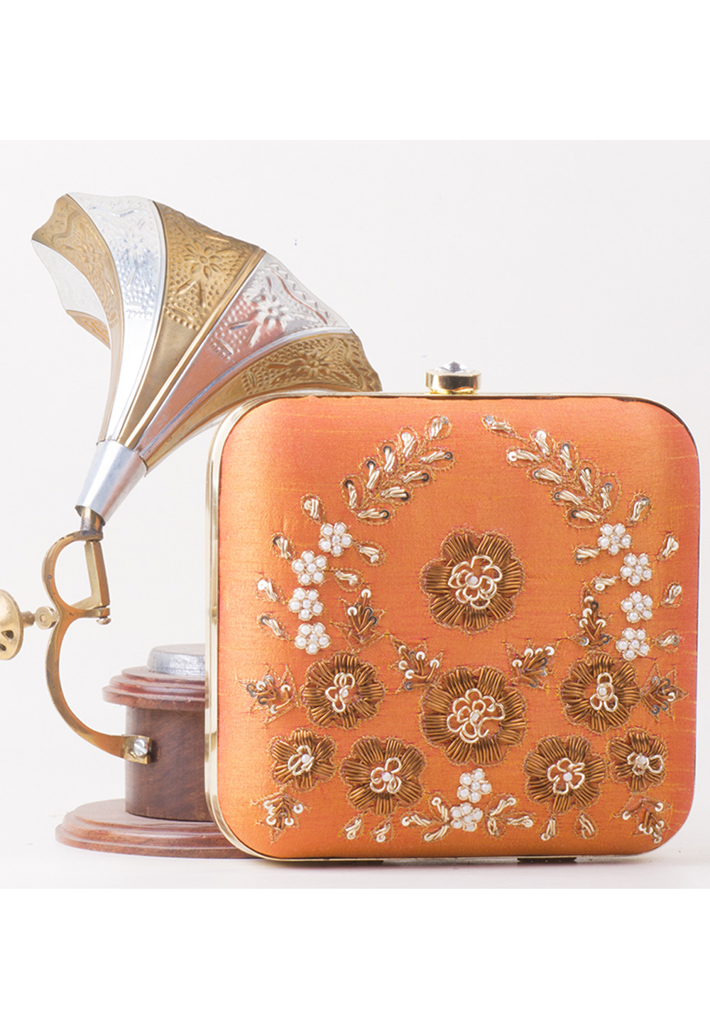 Peach Synthetic Embroidered Clutch 172798