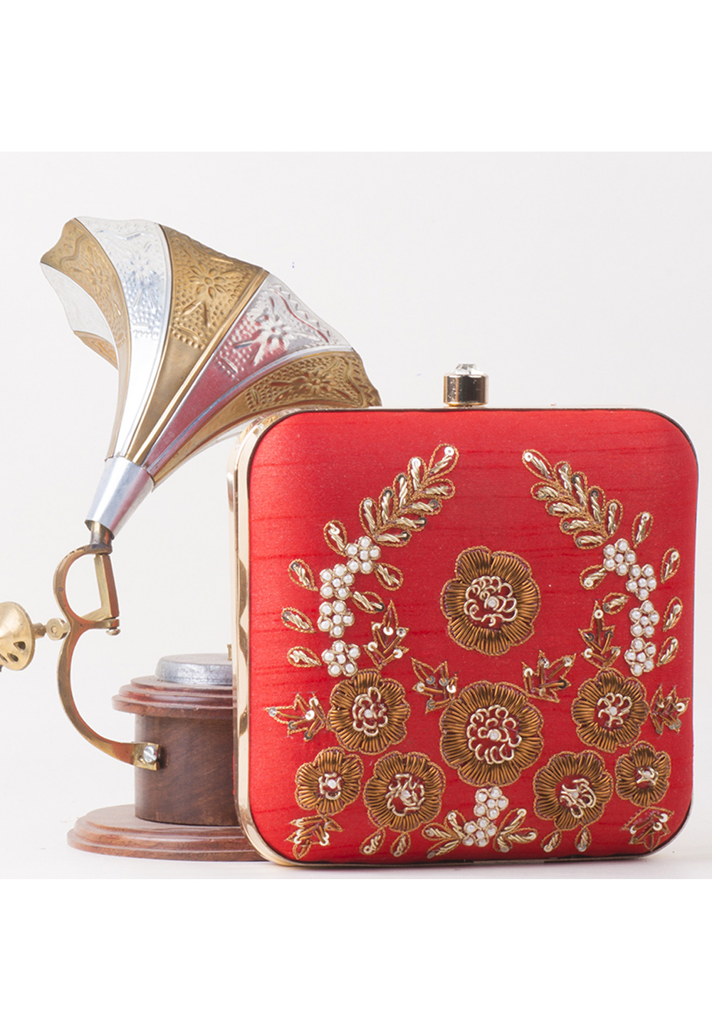 Red Synthetic Embroidered Clutch 172799