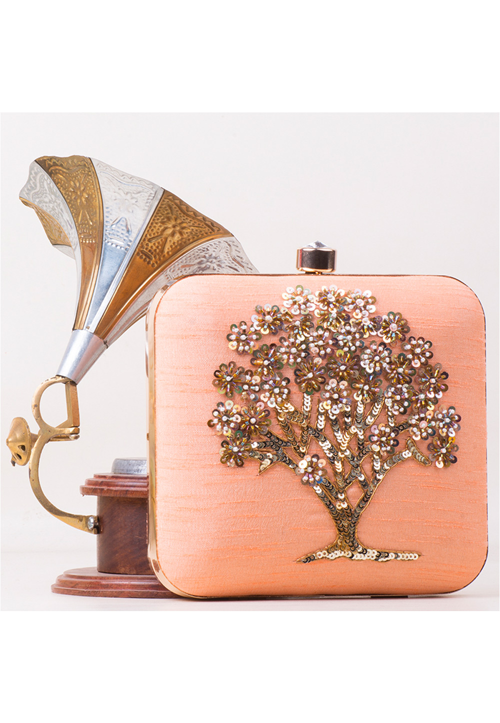 Peach Synthetic Embroidered Clutch 172802