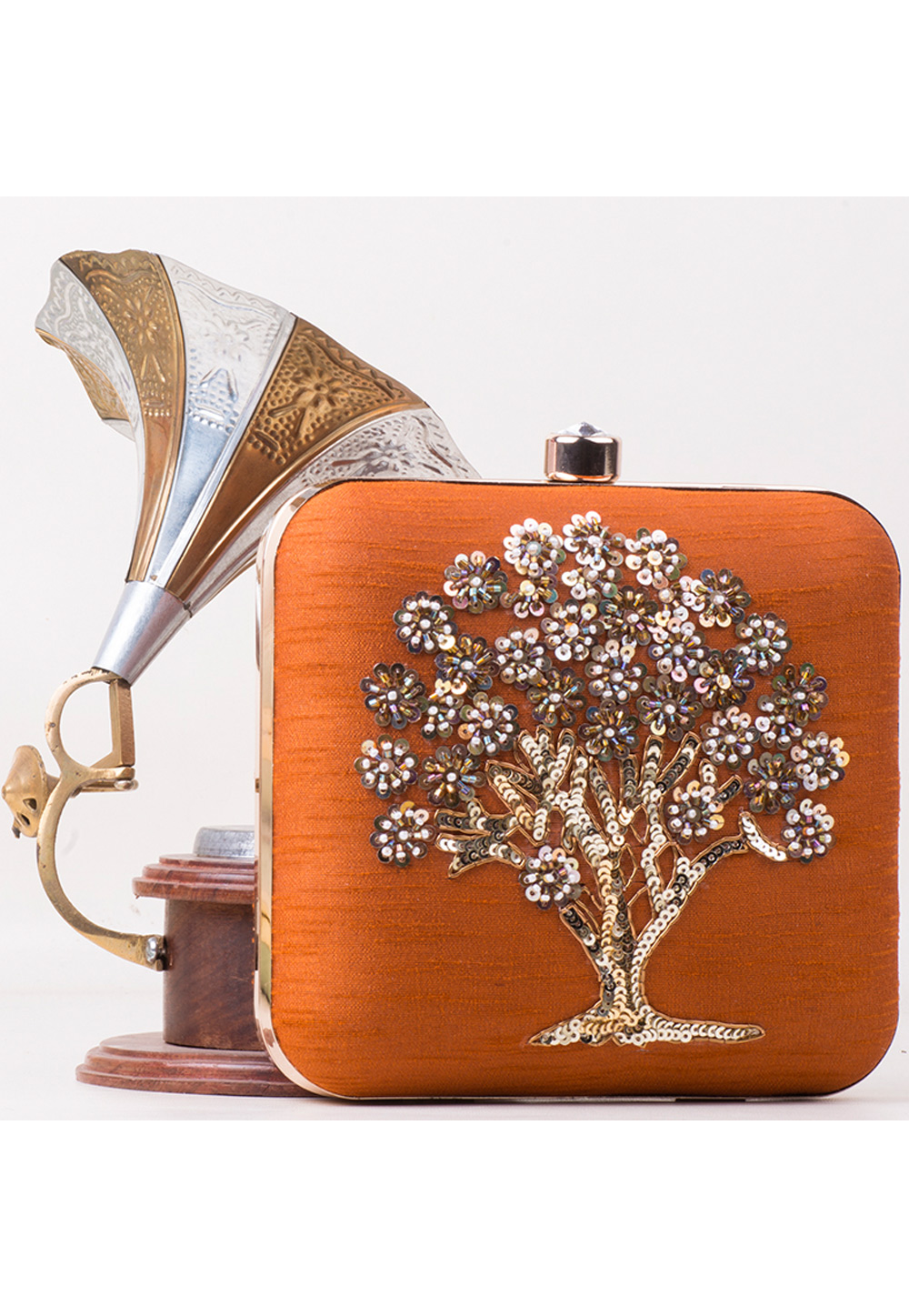 Orange Synthetic Embroidered Clutch 172803
