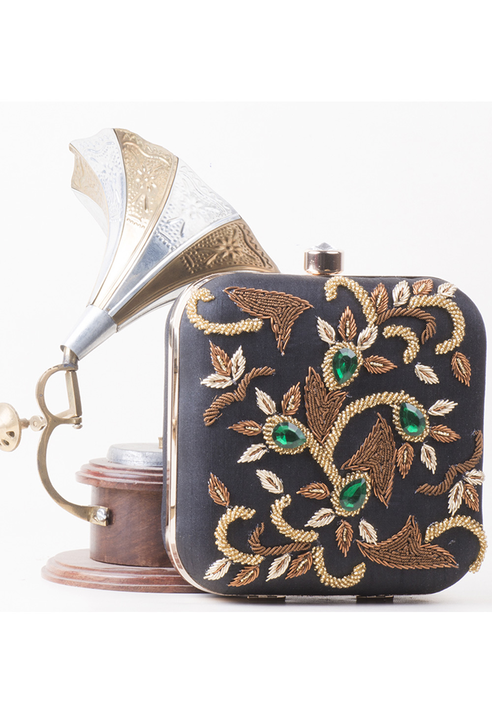 Dark Grey Synthetic Embroidered Clutch 172805
