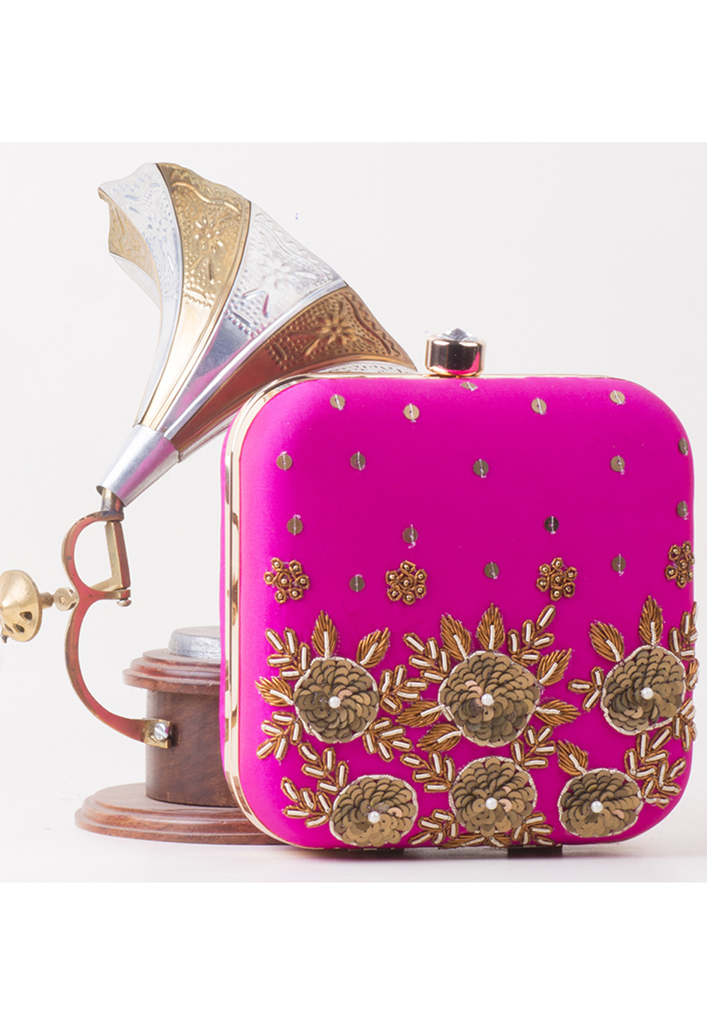 Magenta Synthetic Embroidered Clutch 172806