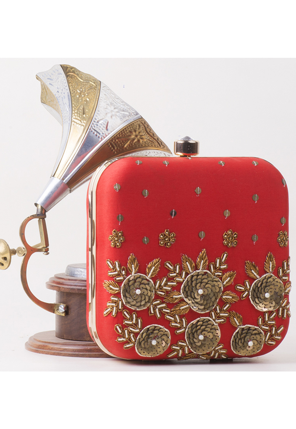 Red Synthetic Embroidered Clutch 172807