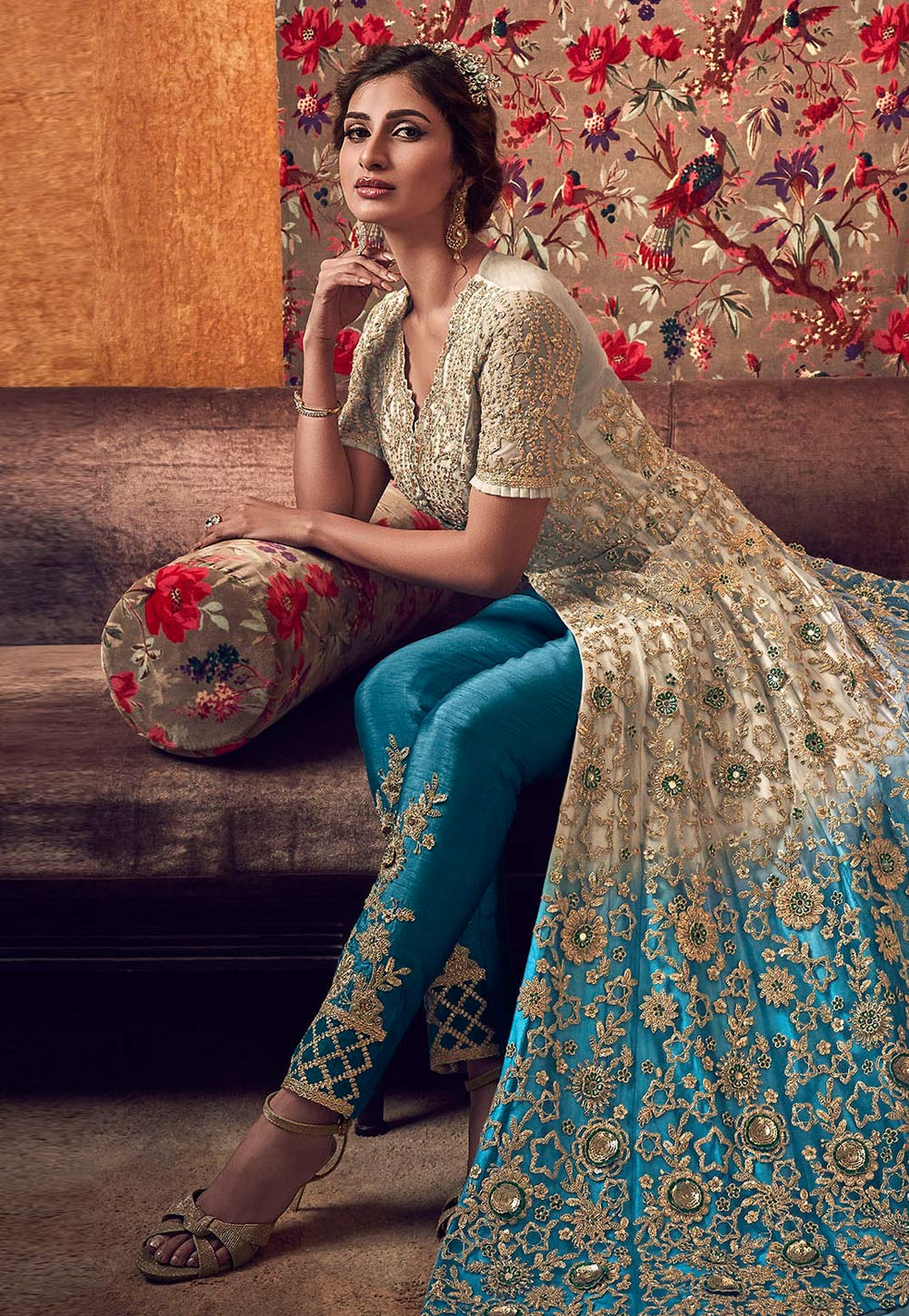 Beige Net Embroidered Pant Style Suit 207139