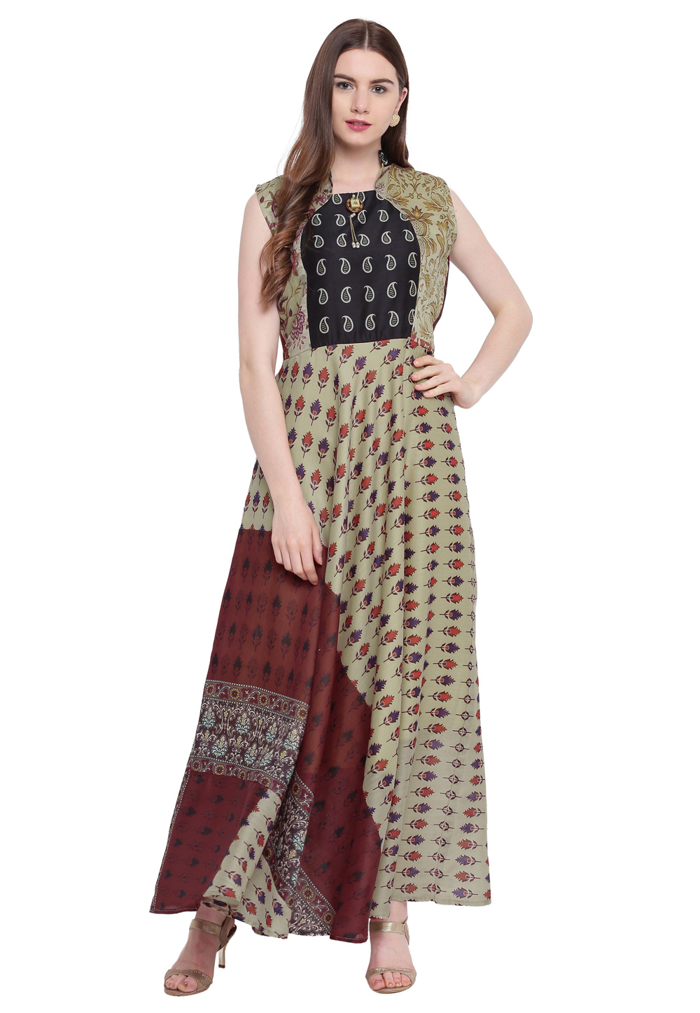 Olive Green Georgette Readymade Printed Gown 172906