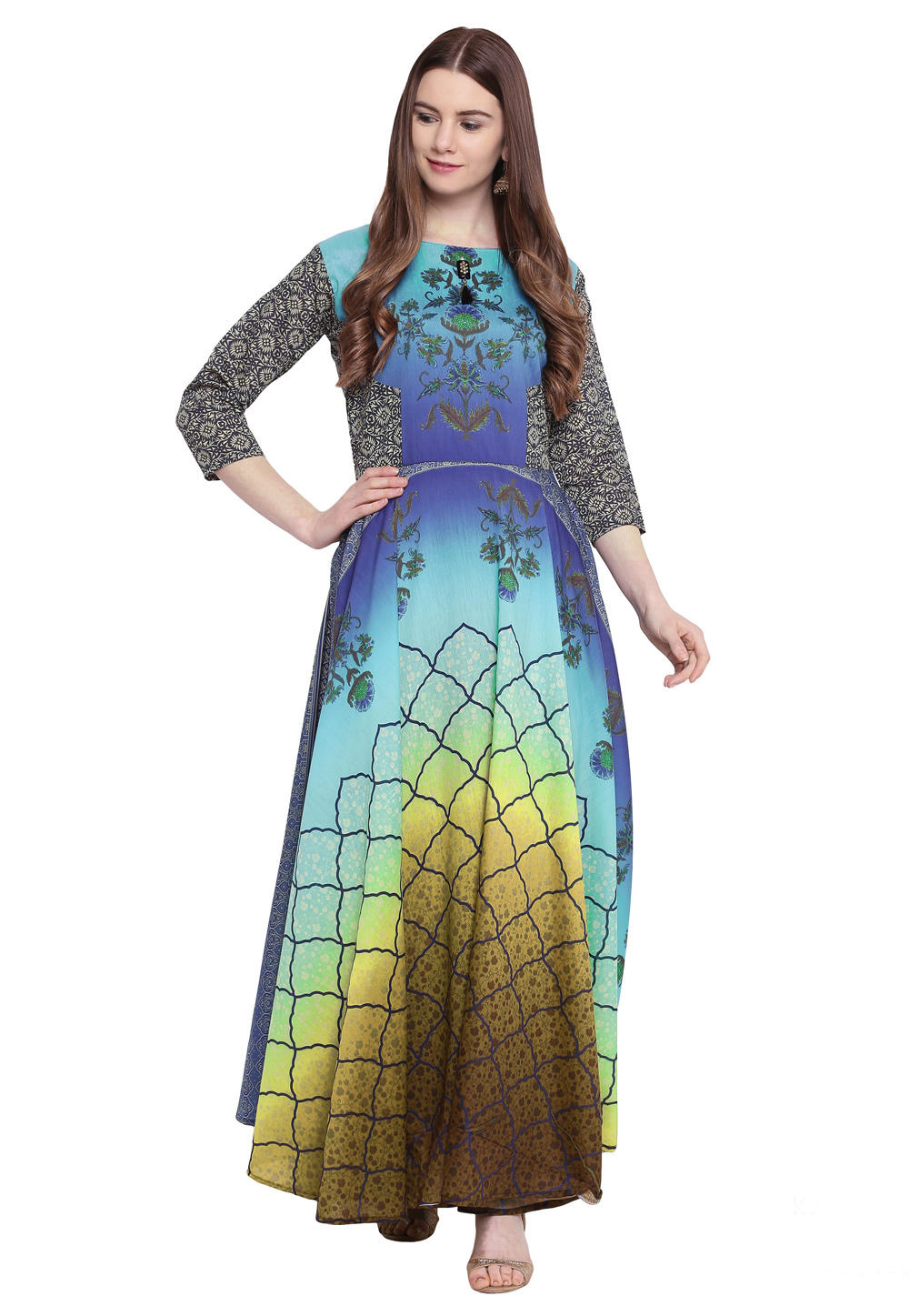 Blue Georgette Readymade Printed Gown 172907