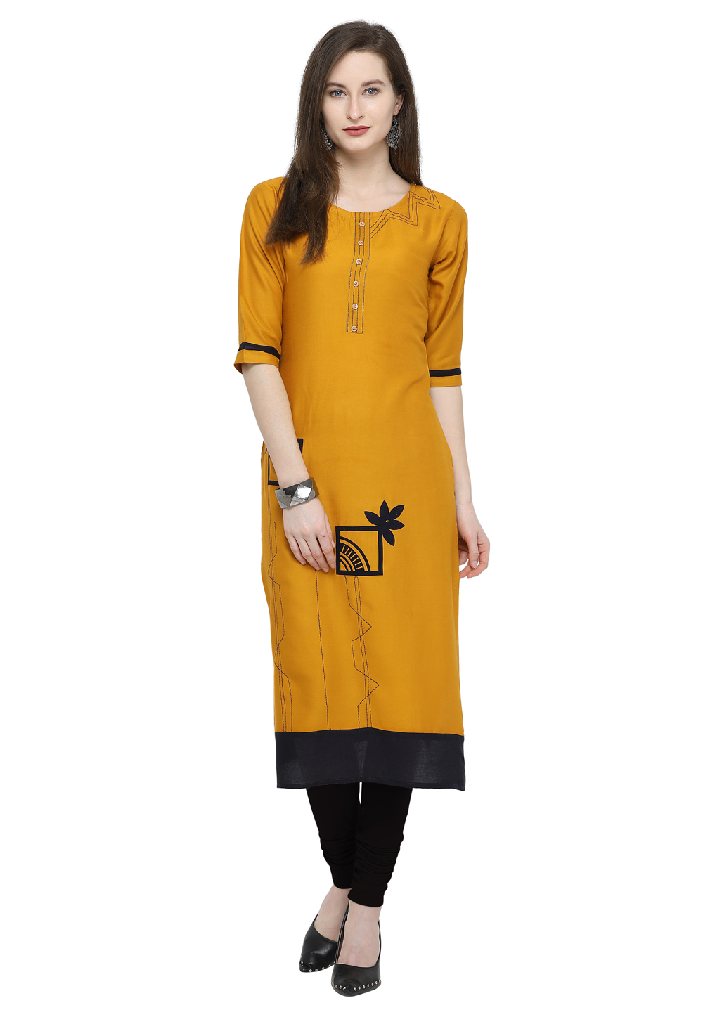 Yellow Rayon Readymade Tunic 175423