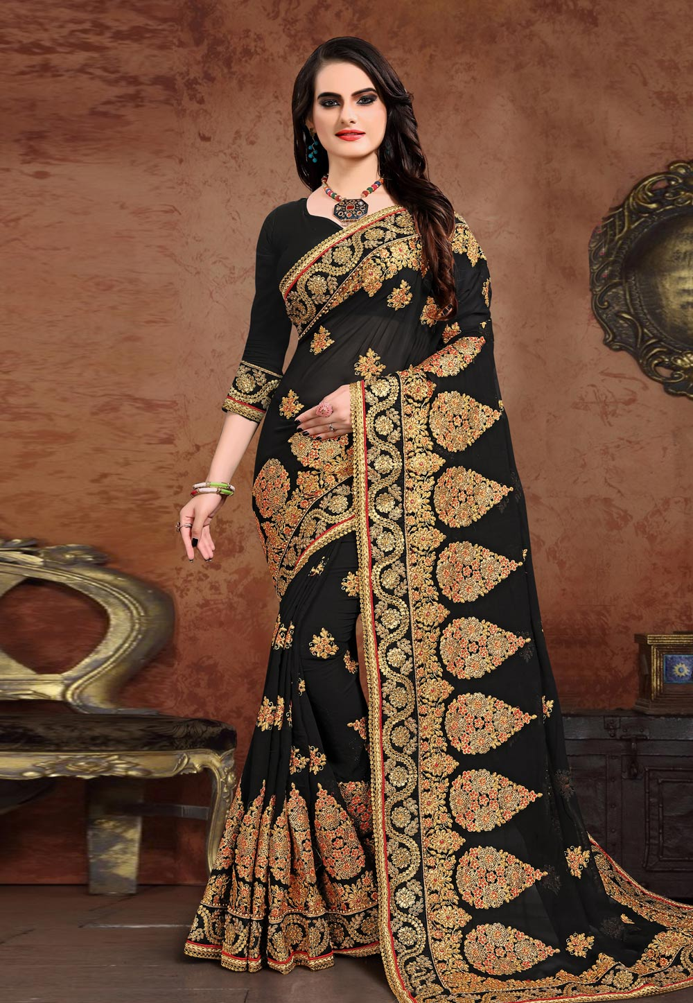 Black Georgette Saree With Blouse 208083