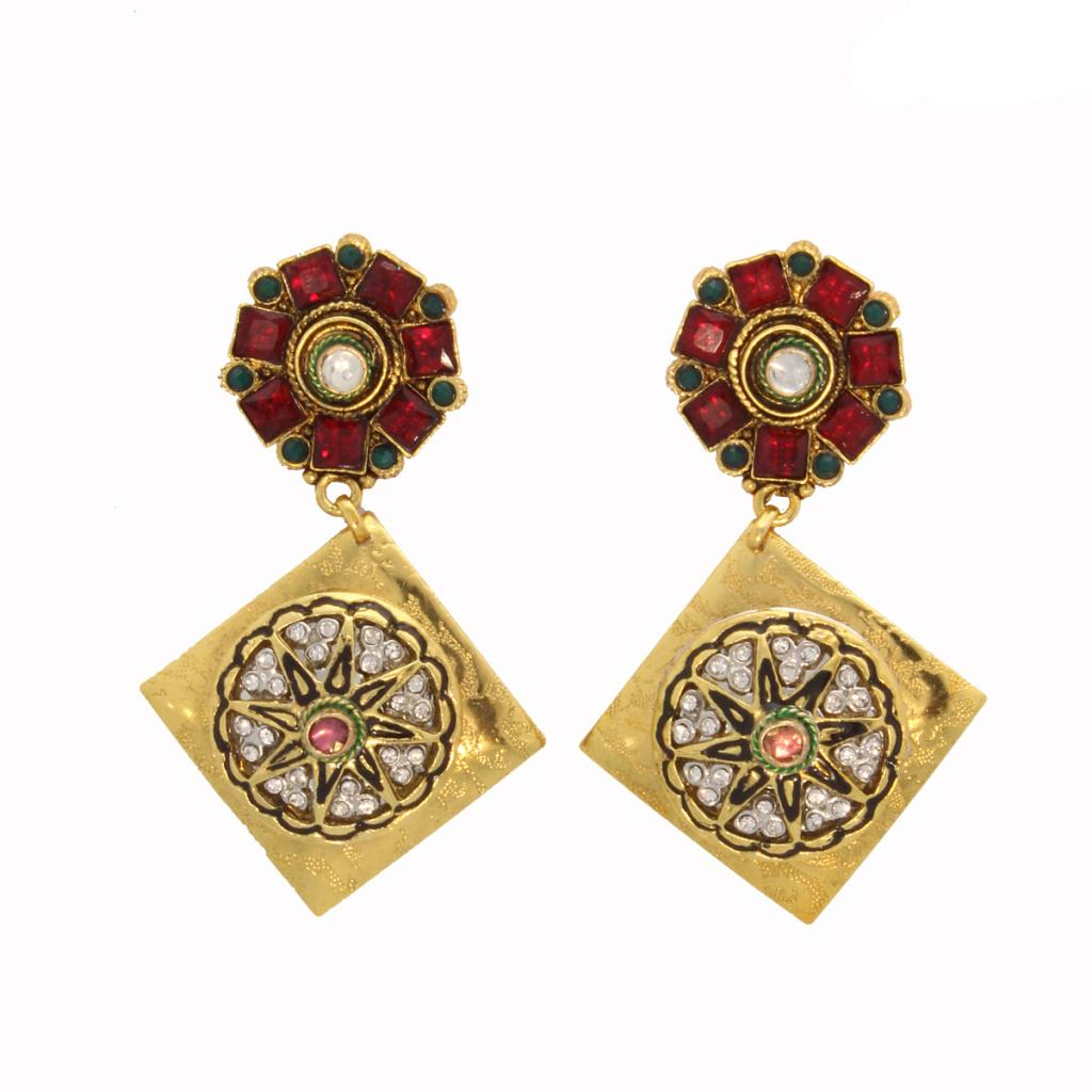 Maroon and Green Stone Studded Earrings 26714