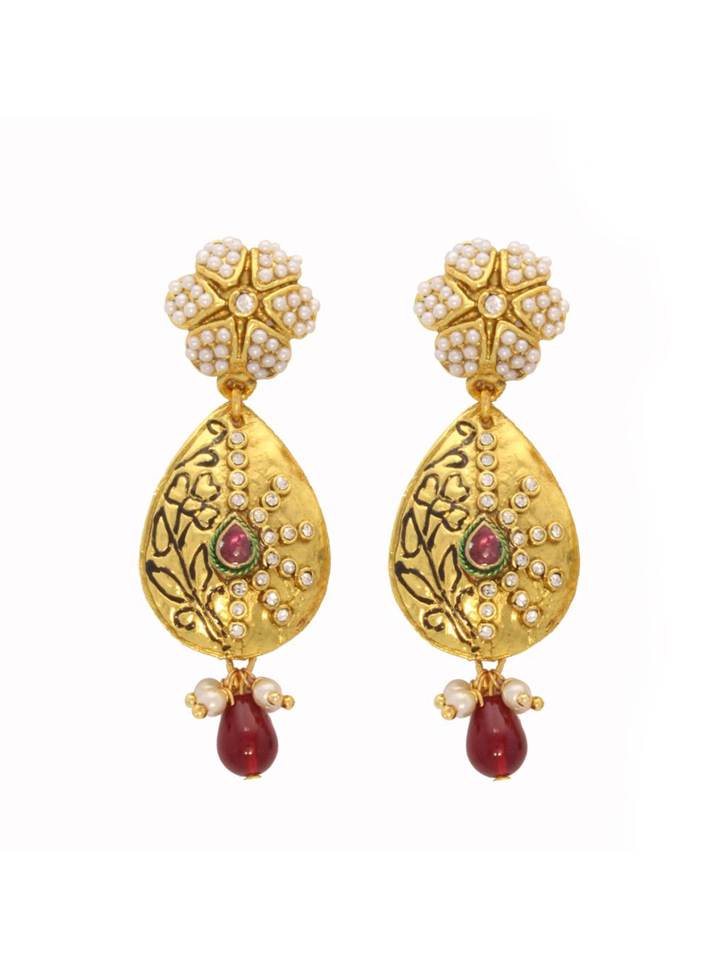 Maroon and White Beads & Stone Decked Earrings 26716