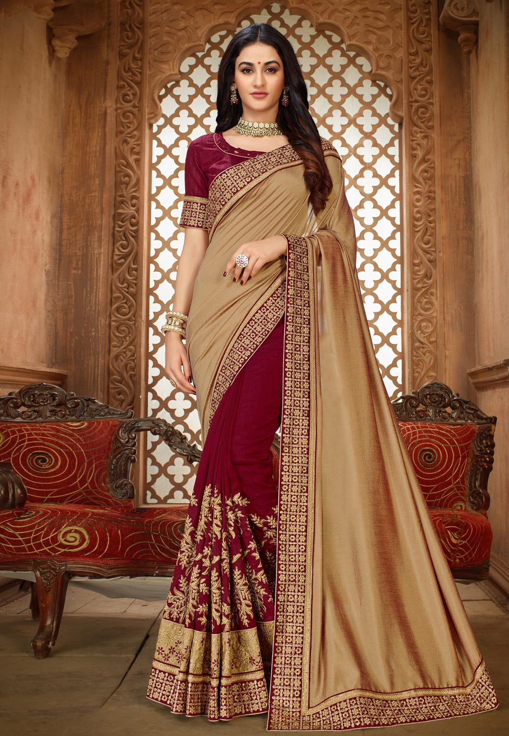 Beige Silk Half and Half Saree 189160