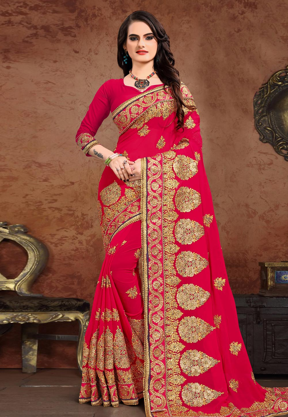 Magenta Georgette Saree With Blouse 208087