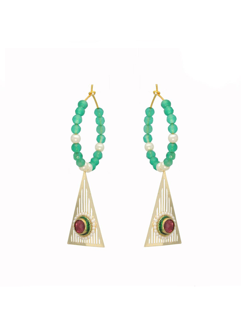 Silver and Teal Blue Triangle Earrings 26731