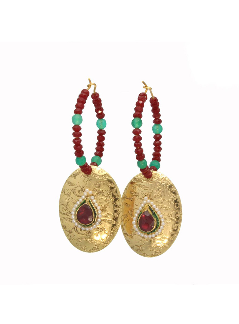 Gold and Red Bead Decked Round Earrings 26733