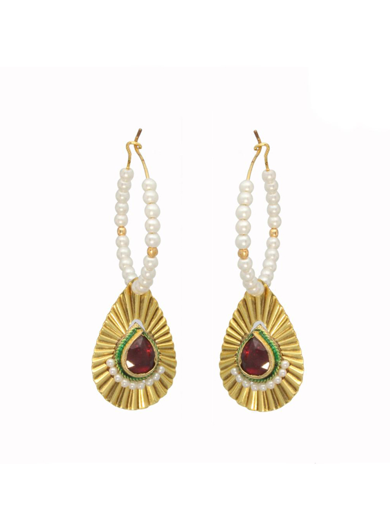 Golden and White Bead Studded Round Earrings 26734