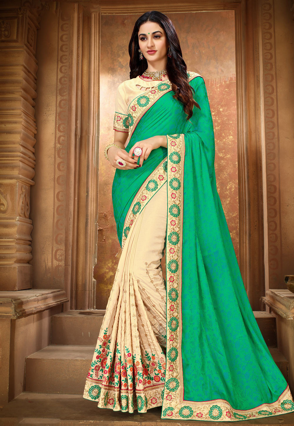 Green Silk Half and Half Saree 189163